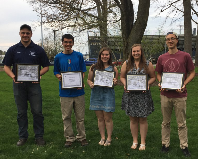 BE award recipients (L to R): Tyrel Kling, Peter DeMartino, Kaitlyn Morrow, Brittany Ayers, and Chris Valdez