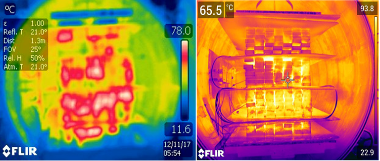 "Fig. 3. Left thermal image (older FLIR Model T250 camera) shows the heating consistency of 4""x6"" cants and the same post-treatment results for the stringers (right image). The right image used a newly acquired FLIR model T530 camera. Note: Despite differences in appearance, both images are the same emissivity (ε= 1.00) value as camera calibrations for thermal reading sensitivity."